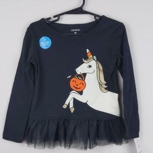 NWT- Carter's -Halloween Glow in dark unicorn top